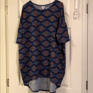 Lularoe Irma top. Blues and gold. Size XL.
